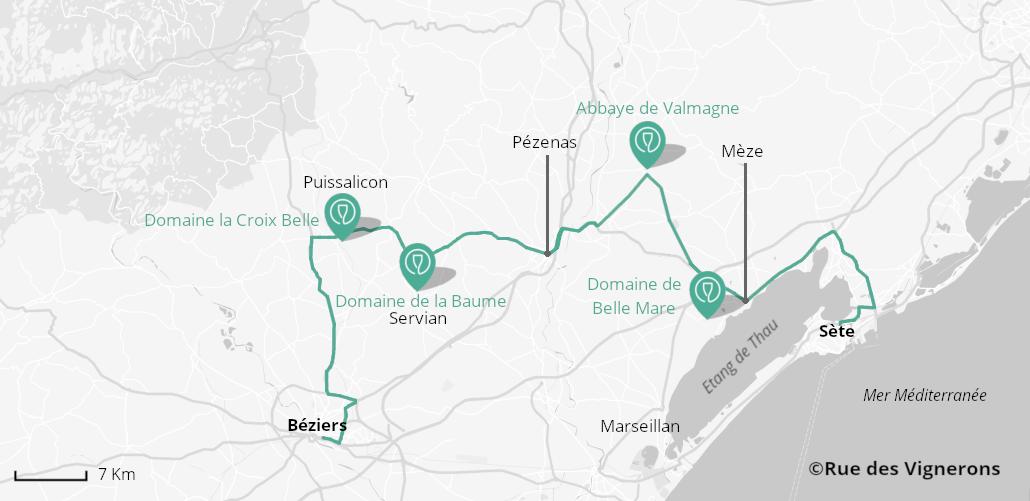 Domaines entre Béziers et Sète