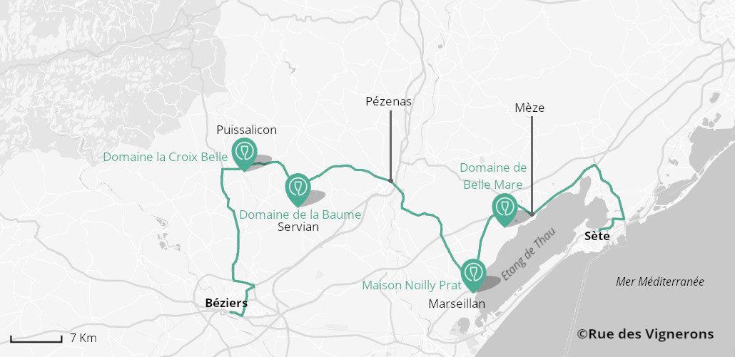 Carte route des vins entre béziers et sète, carte route des vins béziers, carte route des vins sète, carte vignoble sète, carte vignoble béziers, carte route du languedoc