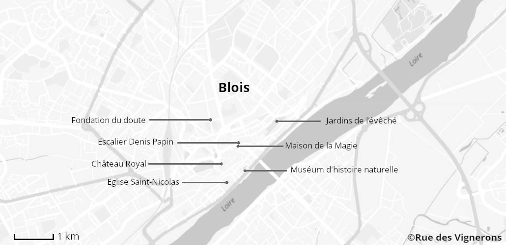 Carte touristique Blois, Itinéraire Blois, Blois Loire, Visiter Blois