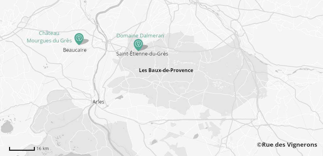 Carte du vignoble Les Baux de Provence, les baux de provence itinéraire, visite domaine les baux de provence, carte dégustation les baux de provence, carte châteaux les baux de provence