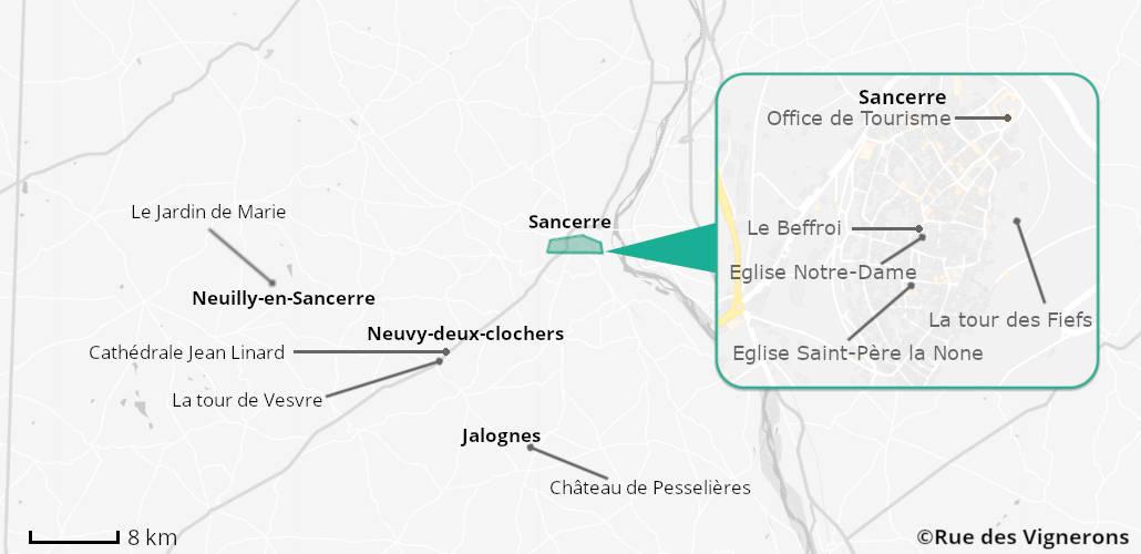 Carte touristique sancerre, itinéraire Sancerre, Ville Sancerre