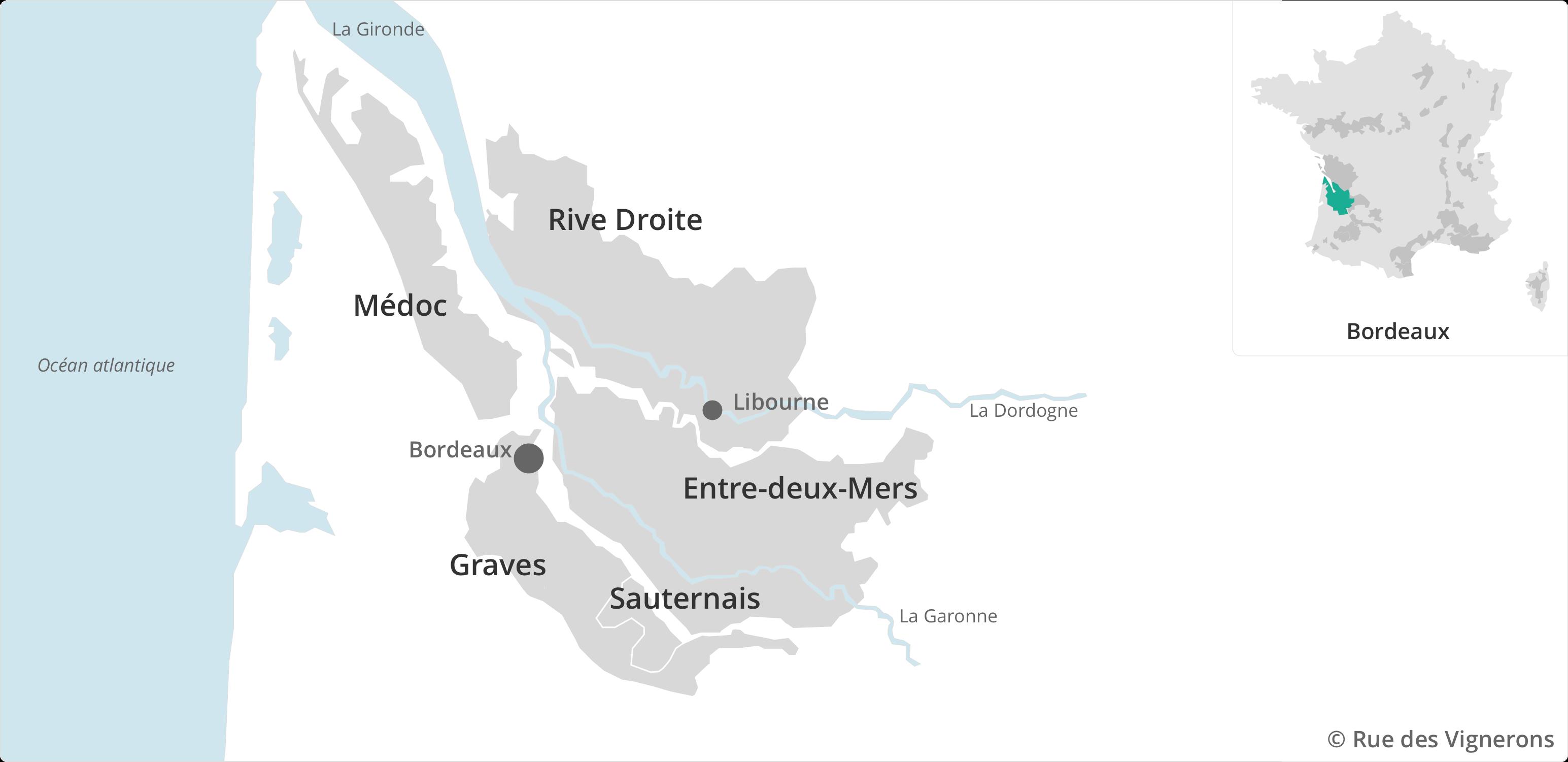 Carte du vignoble Bordelais, appellations cépages bordeaux, appellations bordeaux, guide du vin bordeaux, région bordeaux vin
