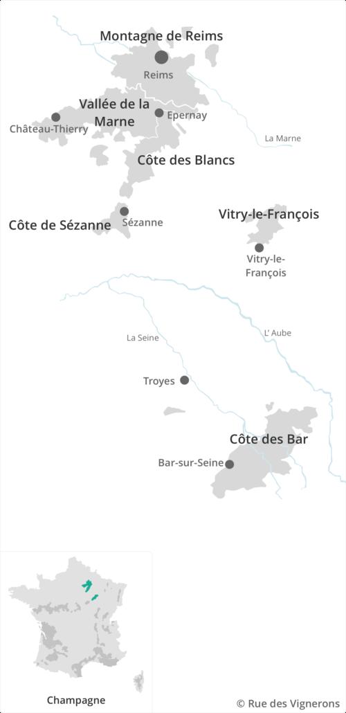 Carte du vignoble Champenois, carte vignoble champagne