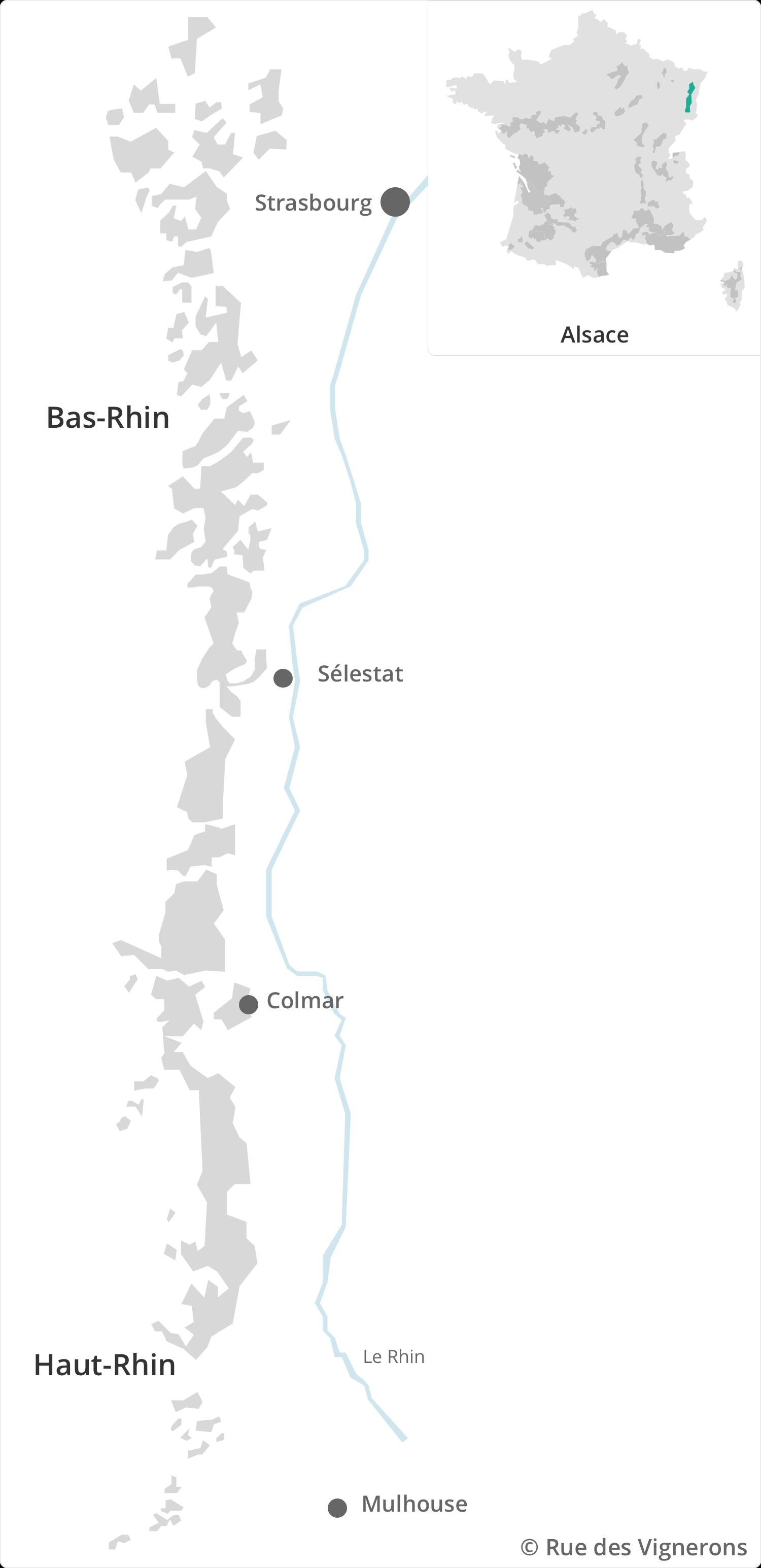 Carte des vins d'Alsace, carte vignoble alsace