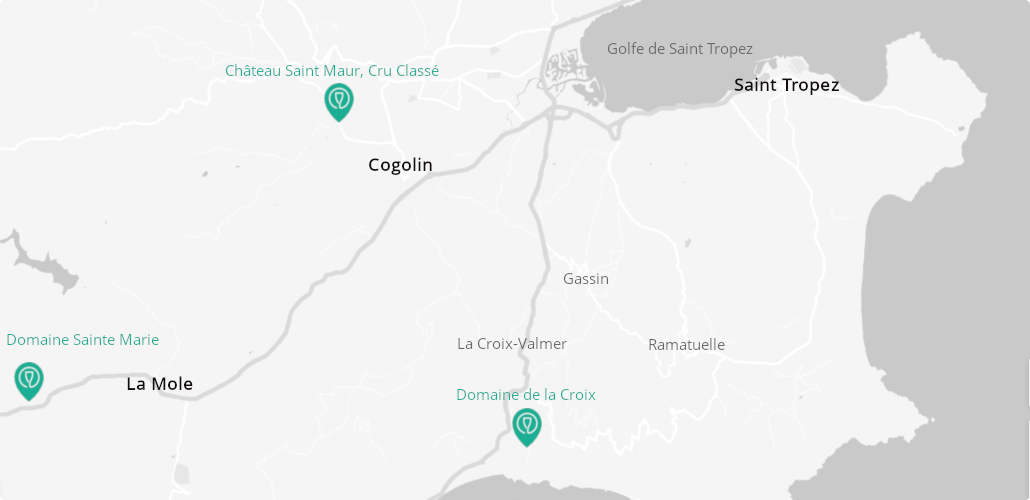 Carte domaines viticoles Saint Tropez