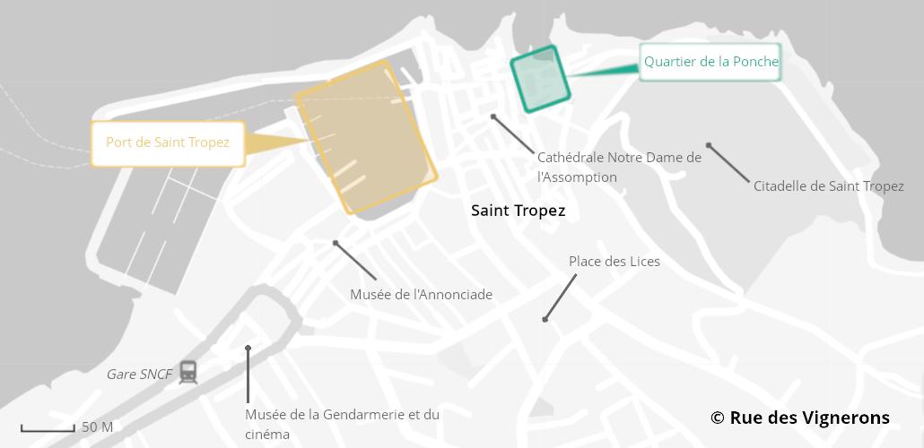 Carte de la ville de Saint Tropez