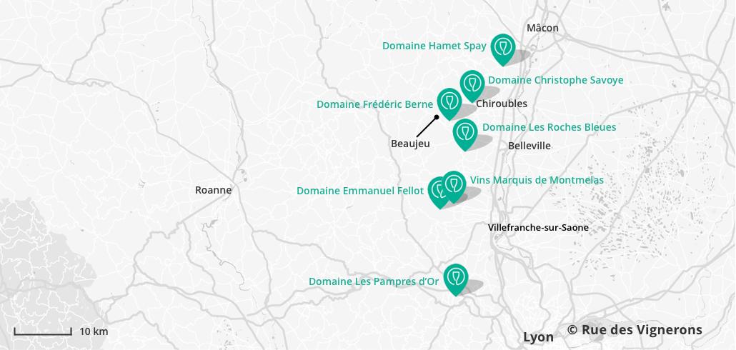 Carte domaines à visiter Beaujolais