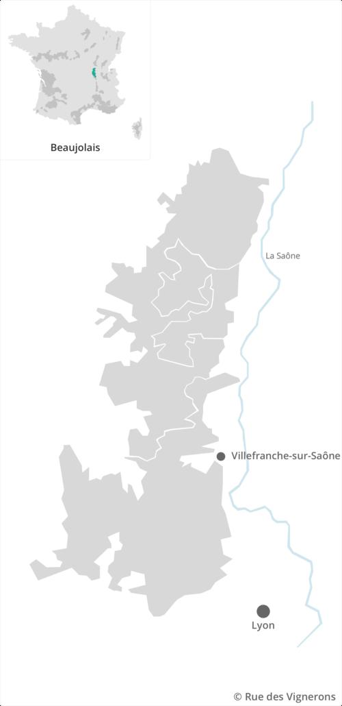 Carte du vignoble beaujolais, carte des vins beaujolais