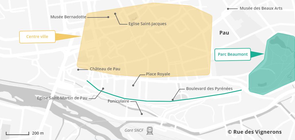 Carte de la ville de Pau