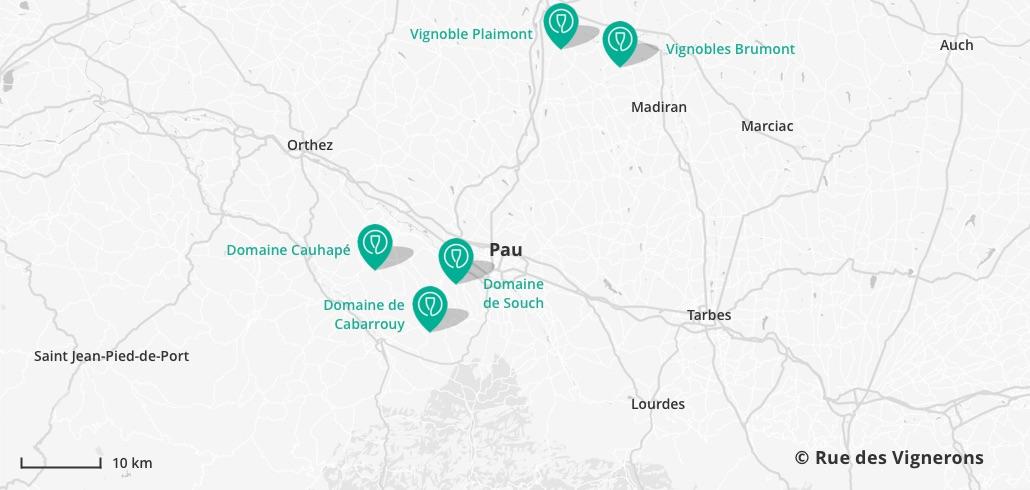carte vignoble proche Pau, domaines près de pau