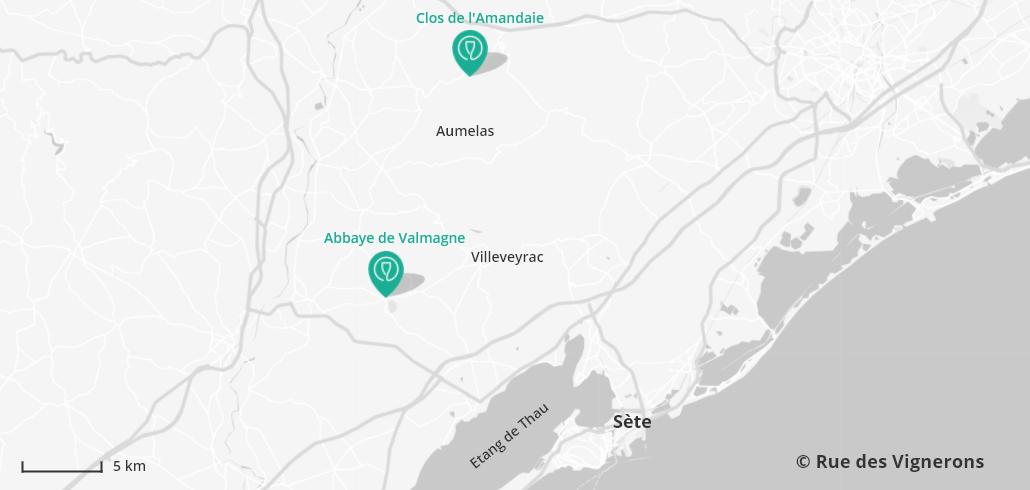 Carte domaines viticoles Sète