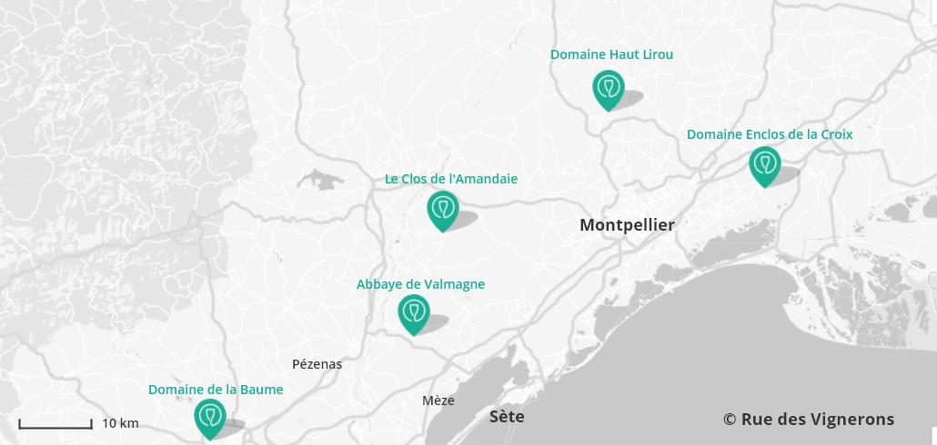Carte domaines viticoles Hérault