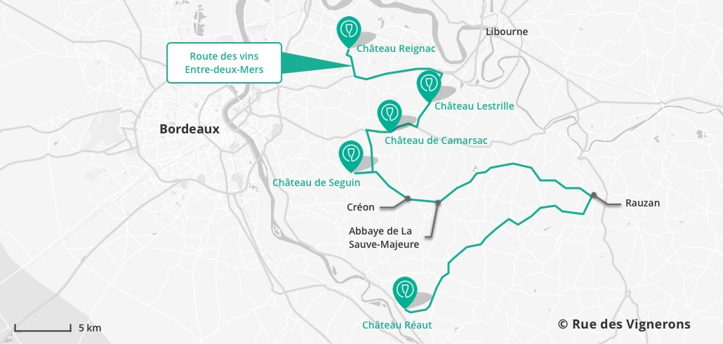 Carte itinéraire route des vins entre deux mers