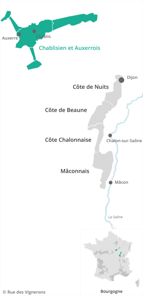 carte du vignoble chablisien