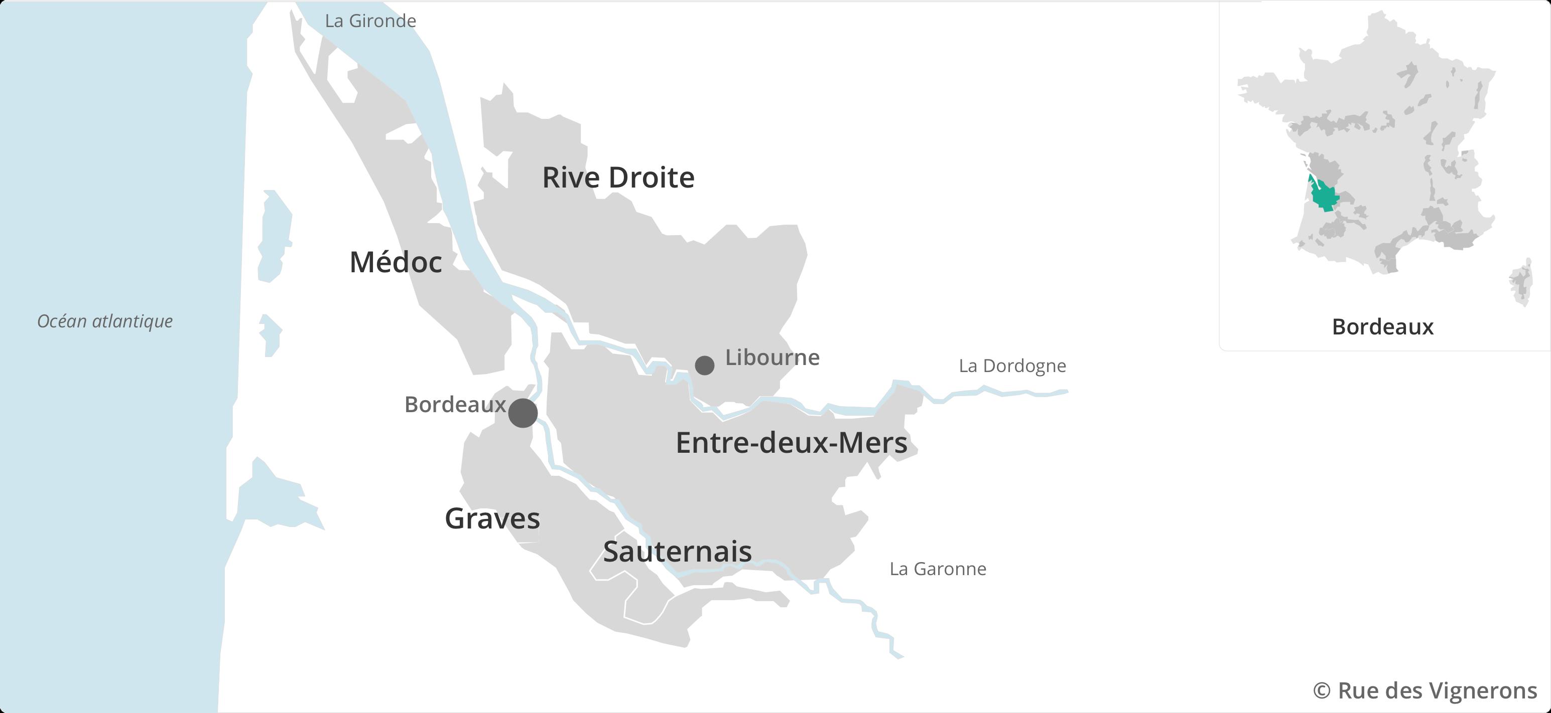 Carte vignoble Bordeaux