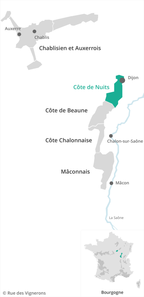 Carte vignoble Cote de Nuits Bourgogne