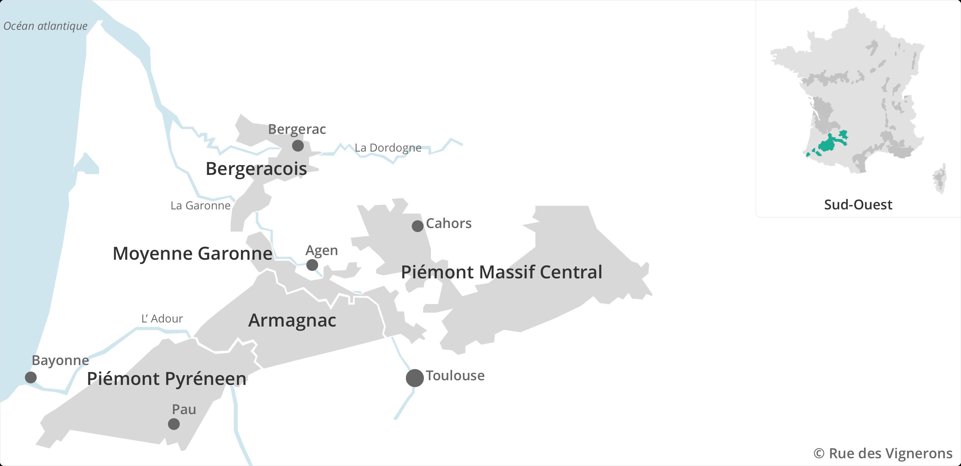 Carte des vins du Sud Ouest